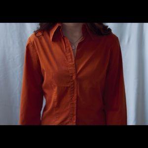 Zara Orange V-Neck Button-Up Size Medium